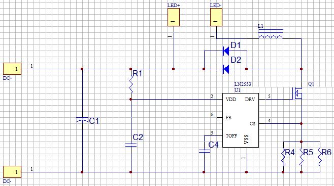 ln2553 led车灯(12v-80v)典型应用线路图