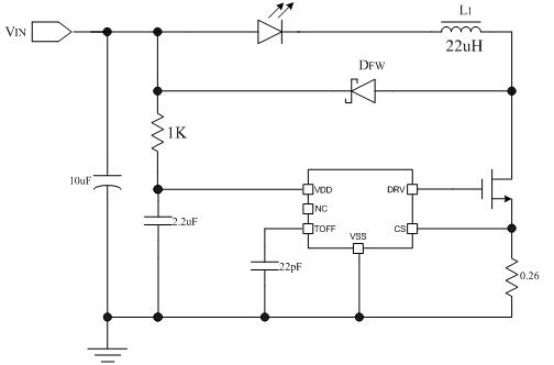 ln2553 led手电筒典型应用电路图